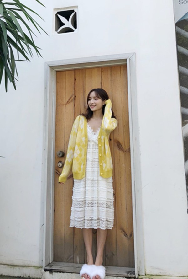 Yellow Mohair Knitted Cardigan | Lisa – Blackpink