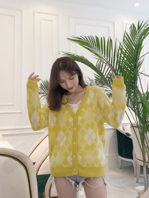 Lisa Yellow Mohair Knitted Cardigan 00009
