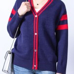 Double Red Band Blue Cardigan | Mina – Twice