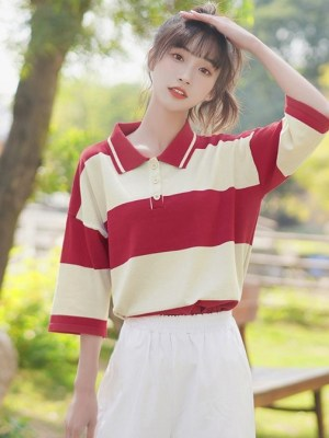 Oversized Half-Sleeve Polo Shirt