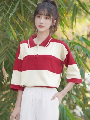 Oversized Half-Sleeve Polo Shirt (7)