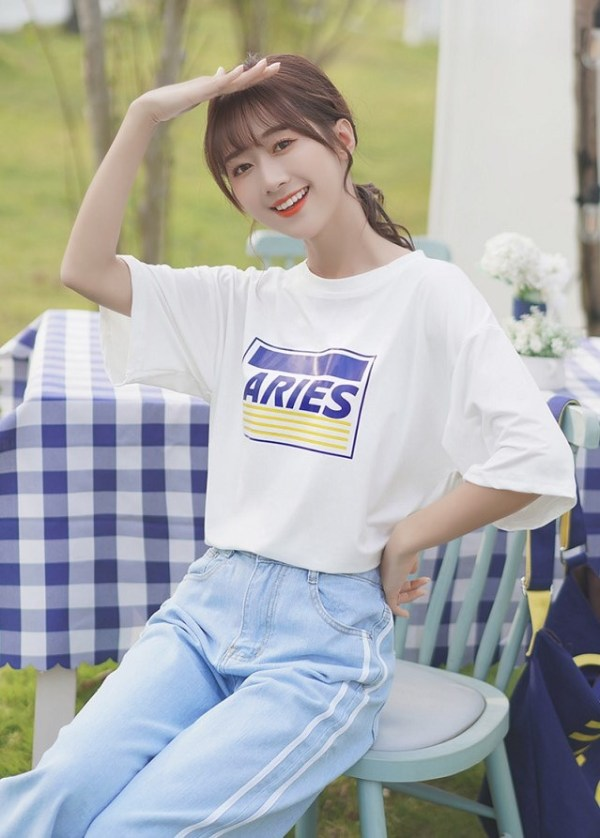 Oversized White T-Shirt With Printed Text