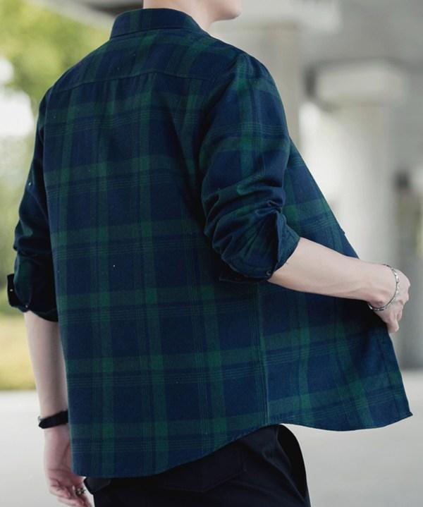 Classic Dark Checkered Long Sleeve Shirt | Park Seo Roi – Itaeowon Class