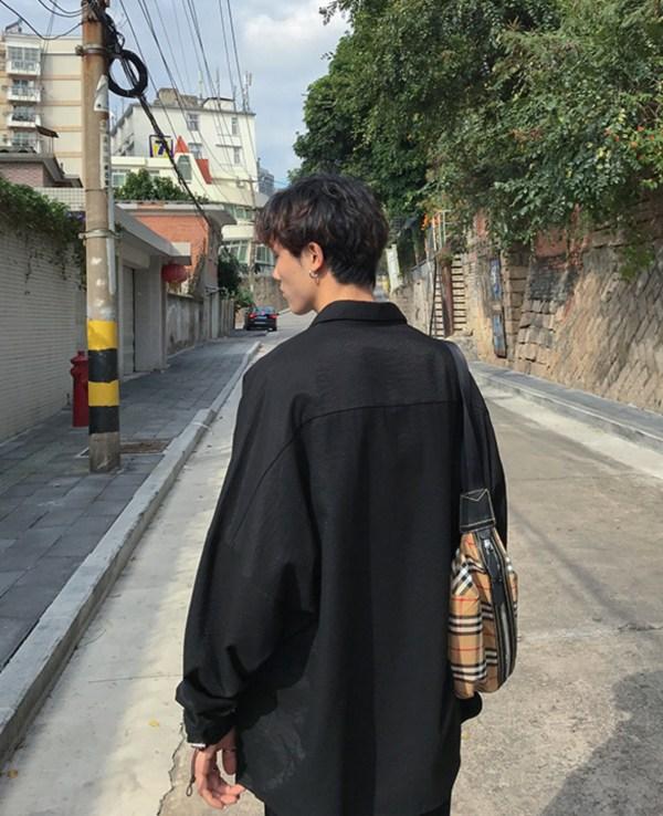 Oversized Black Lapeled Long Sleeve Shirt   Park Sao Roi – Itaewon Class