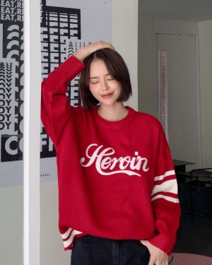 RM Heroin Word with White Ban Sleeves Red Oversize Sweater 00014
