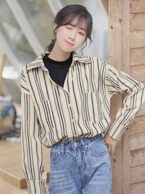 Retro Stripes Wide V-neck Shirt 00006
