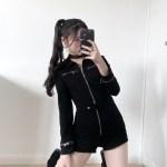 Black Motorcycle Buttoned Belt Jumpsuit | Seulgi – Red Velvet