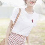 Shirred Short Sleeved T-Shirt With Heart Print