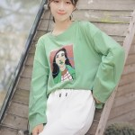 Street Style Long Sleeve T-Shirt With Graphic Print