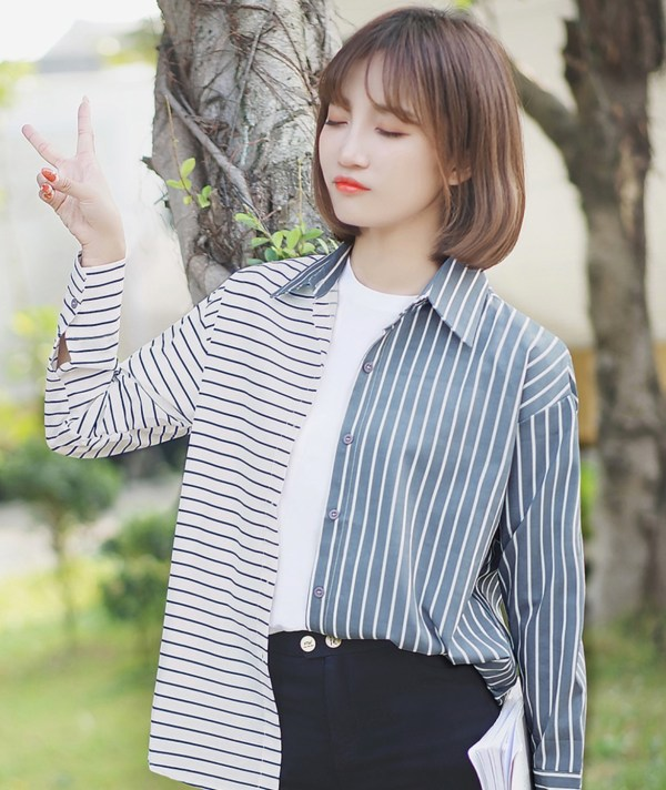 Uneven Stripes Long Sleeve Shirt