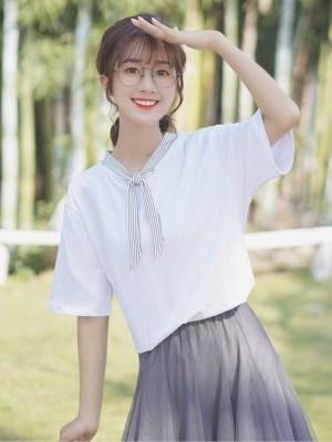 V-Neck Shirt With Vertical Stripes Tie (2)