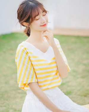 V-Neck Striped T-Shirt (4)