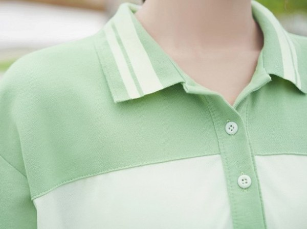 White and Green Polo With Stripes