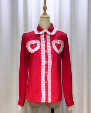 Yeri Ruffled Chest Hearts Shirt (5)