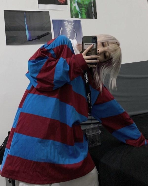 Oversized Color Block White Collar Shirt | Hyuna