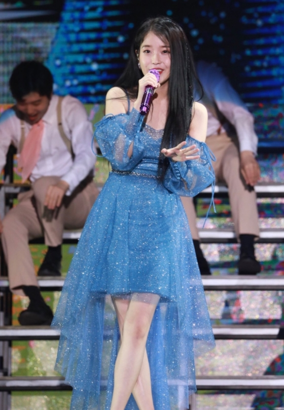 Blue Draping Lace Sling Dress | IU