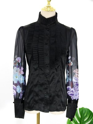 IU Jet Black Pleated Bib And Angel Printed Sleeves Shirt 00015