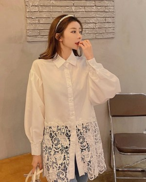 IU Laced Bottom Classic White Shirt 00003