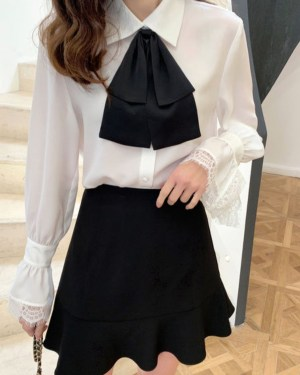 IU Oversized Bow Tie And Laced Bell Cuffs Shirt 00009