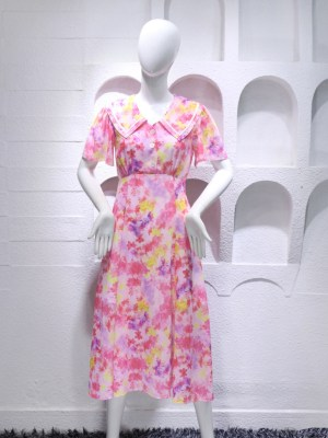 IU Pink Floral Chelsea Collar Dress 00020
