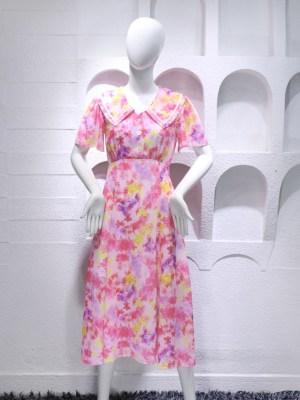 IU Pink Floral Chelsea Collar Dress 00020