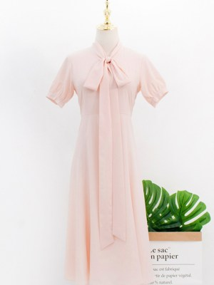 IU Pink Ribbon Long Chiffon Dress 00004