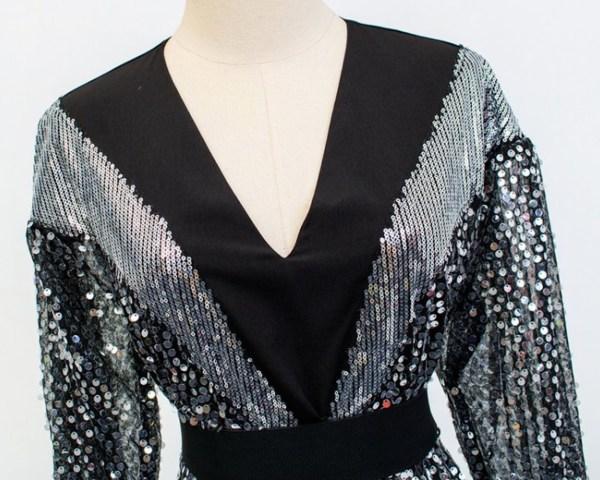 Shimmering Embellish Chiffon Mini Dress   IU
