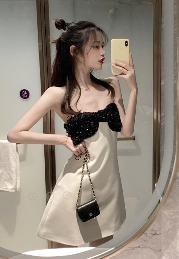 Sequined Black Chest Bow Mini Dress | Jennie – Blackpink