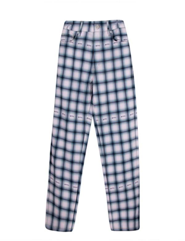 Sky Blue Tartan Straight Pants | Jennie – Blackpink