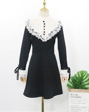 Jihyo Laced Ruffle Chest and Cuffs Black Dress 00013