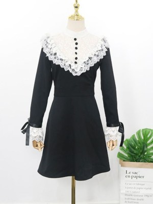 Jihyo Laced Ruffle Chest and Cuffs Black Dress 00013