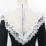 Laced Ruffle Chest and Cuffs Black Dress | Jihyo – Twice