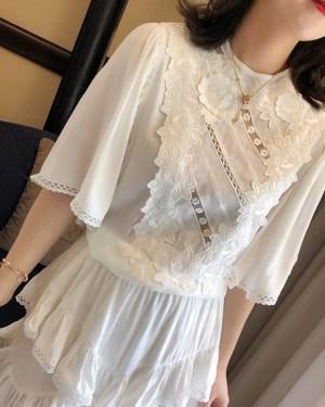 Lisa Cream Chiffon Brussels Lace Short Dress 00016