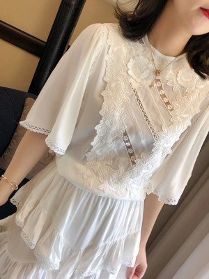 Lisa Cream Chiffon Brussels Lace Short Dress 00016