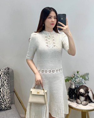 Lisa Ivory Round Neck Crochet Dress 00006