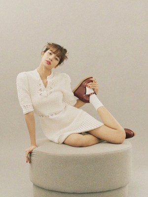 Ivory Round Neck Crochet Dress   Lisa – Blackpink