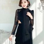 Lace Sleeves With Ruffled Shoulder Black Dress | Mina – Twice