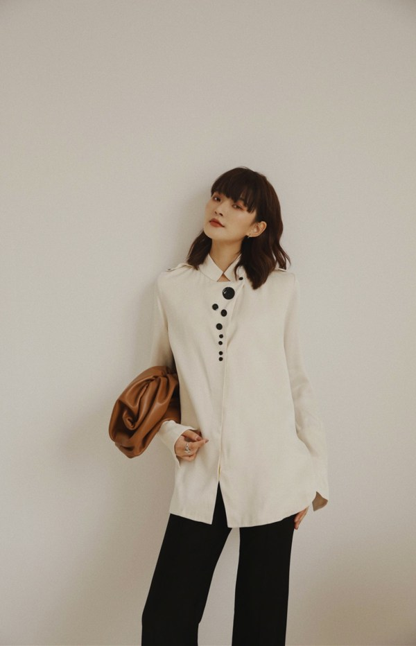 Nehru Collar With Chest Button Details White Shirt | Mina – Twice