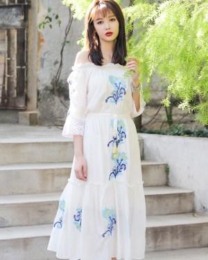 Momo High Slit Off Shoulder White Summer Dress 00026