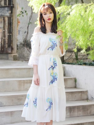 Momo High Slit Off Shoulder White Summer Dress 00026