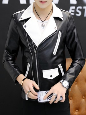RM White Lapeled Black Leather Jacket 00002