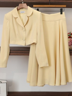 Yeo Ha Jin Yellow Cropped Coat and Straight Skirt 00025