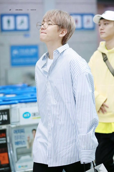 Blue Striped Polo Shirt | Baekhyun – EXO