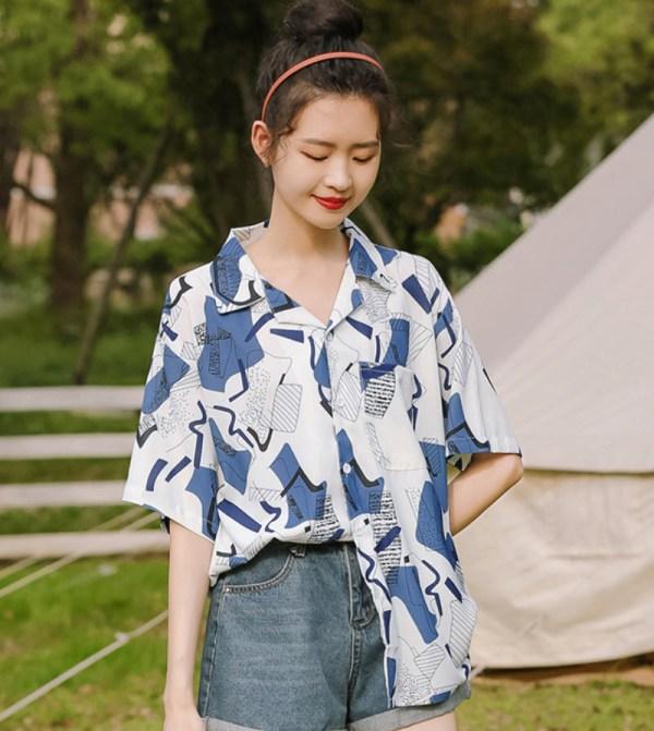 Blue Irregular Shaped Patterned Shirt