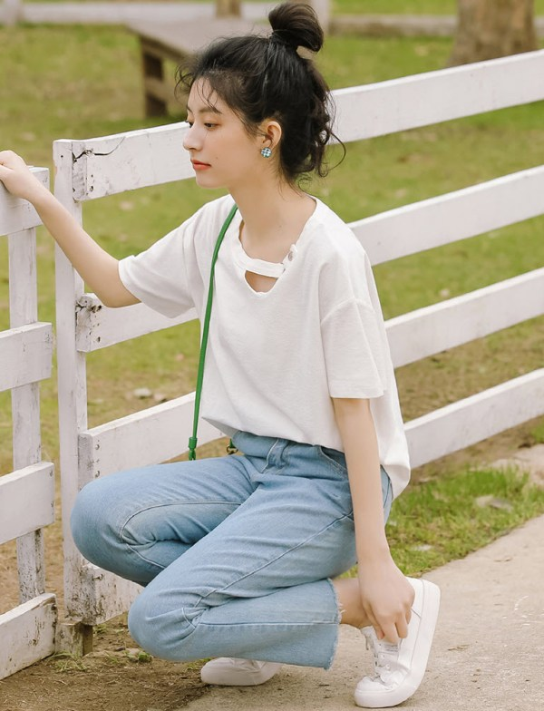 Chain Linked Cut-Out Neckline T-Shirt