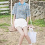 Checkered Blue Collared Blouse
