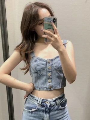 Chungha -Denim Sling Cropped Top (6)