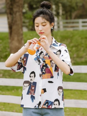 Colored Portraits Print Shirt (7)