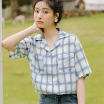Double Pockets Blue Plaid Shirt