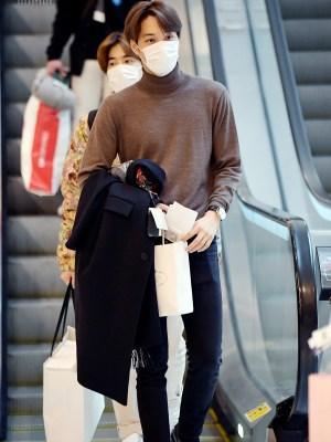 Brown Long Sleeve Turtle Neck Shirt | Kai – EXO